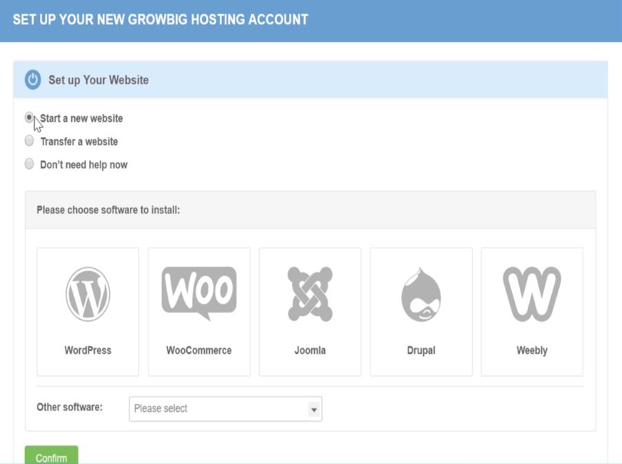 siteground installation growbig hosting account