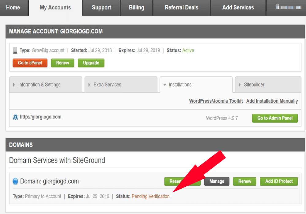siteground pending verification
